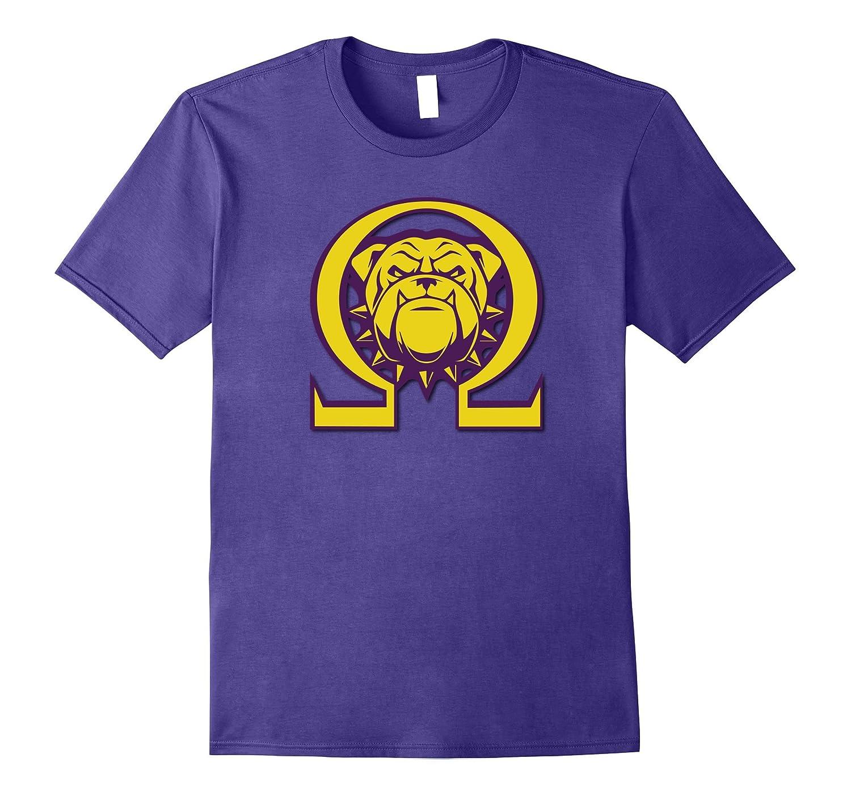 Mens Omega Bulldog Purple Gold Que Atomic Dog Psi Phi T-Shirt-TH