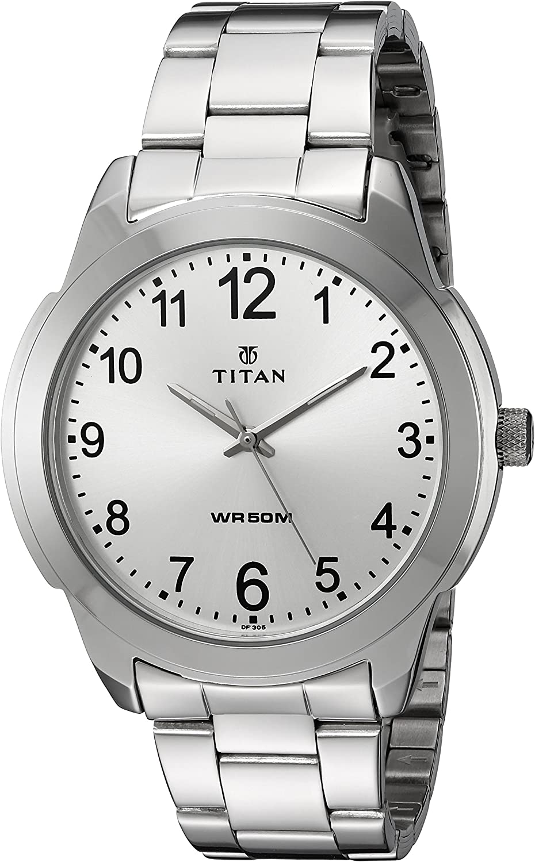 Titan Men s Neo Quartz Metal and Brass Watch, Color Silver-Toned Model 1585SM04
