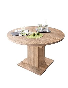 0588 Table ronde/120 cm en imitation chêne brut de sciage zIP ...