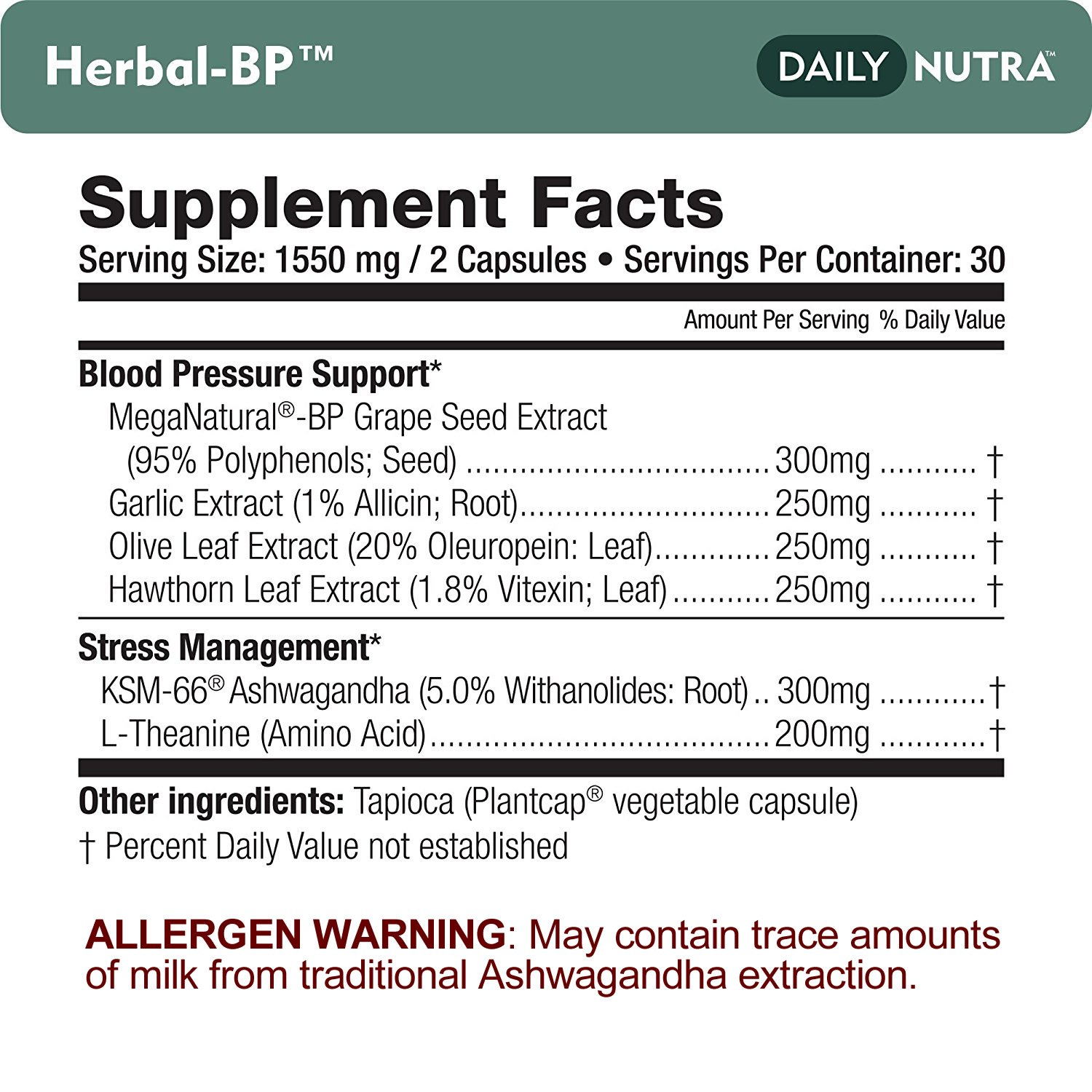 Herbal-BP Natural Blood Pressure Support with Stress Management - Medical Grade Botanical Extracts - Safe, Long-Term Support (3-Pack) by DailyNutra (Image #5)