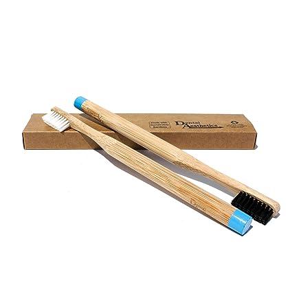 2 x Cepillos Dentales de Bambú para Adultos ~ Cerdas Medio Blancas & Negras, Ecológico