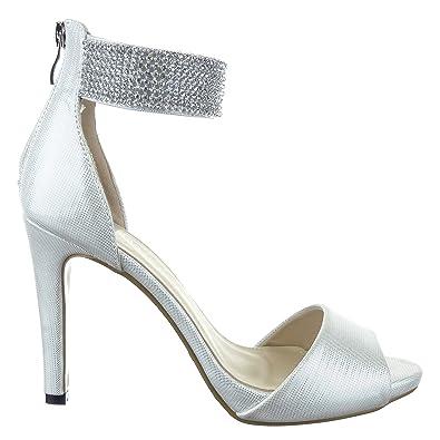 3db8f71855fc1a Sopily - Chaussure Mode Escarpin Sandale Stiletto Cheville femmes strass  diamant Talon aiguille haut talon 10