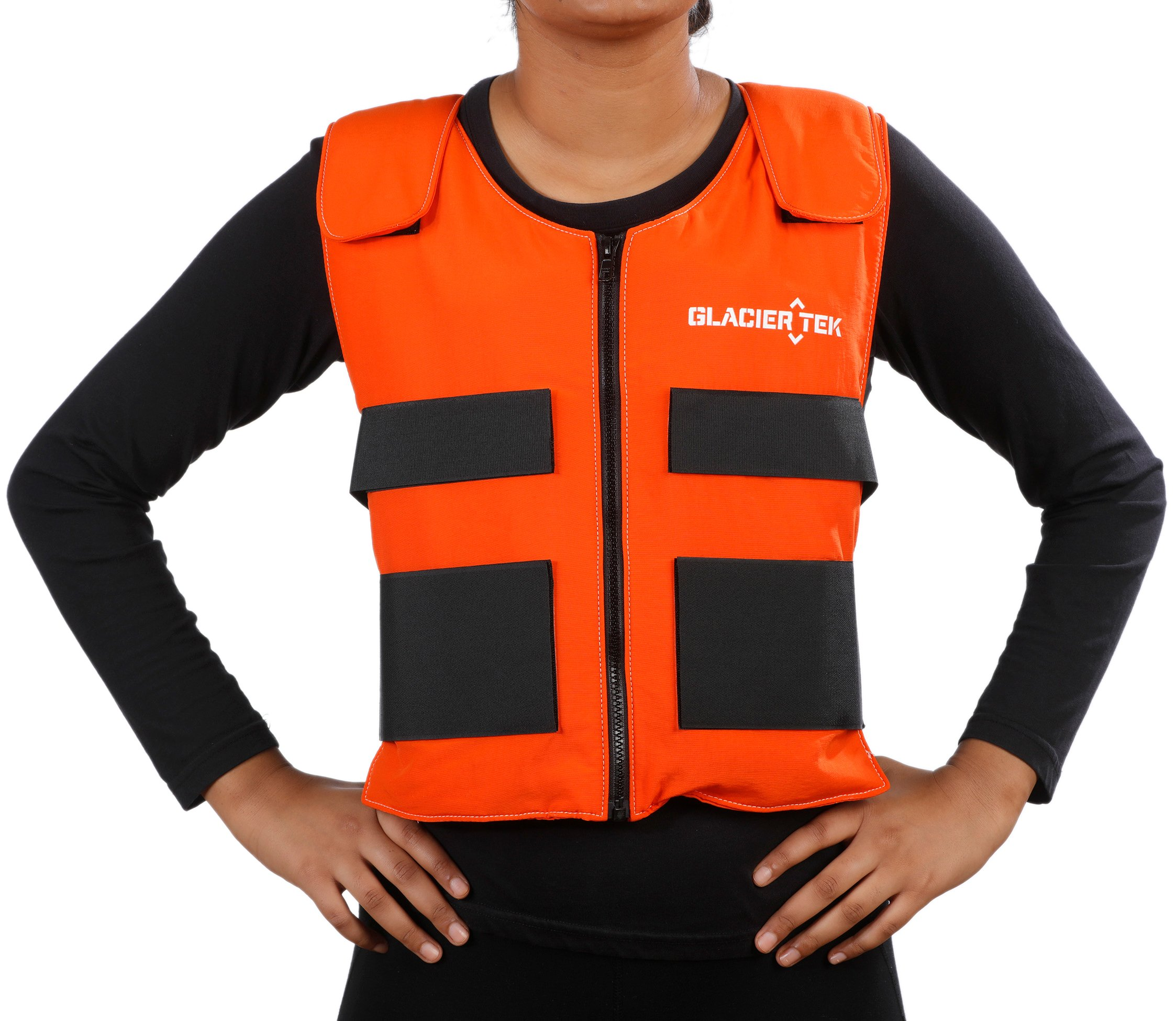 Glacier Tek Sports Cool Vest with Set of 8 Nontoxic Cooling Packs Orange by Glacier Tek (Image #1)