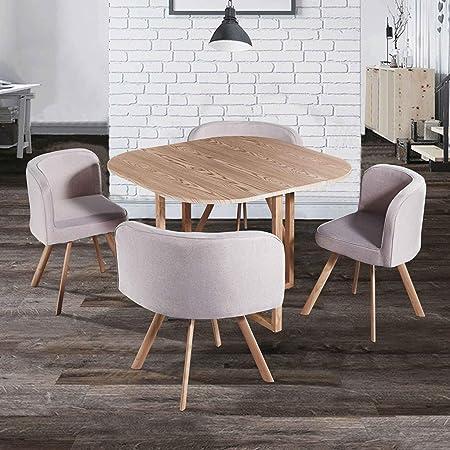 Decoinparis Ensemble Table 4 Chaises Encastrables Flen Beige