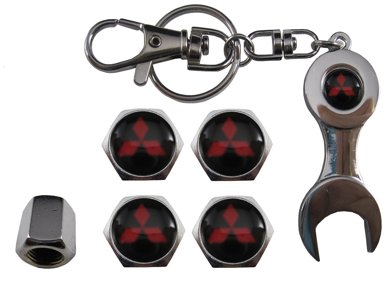 aut011-22 Bouchons de valve en acier inoxydable pour voiture et porte-clé s Mitsubishi ETMA