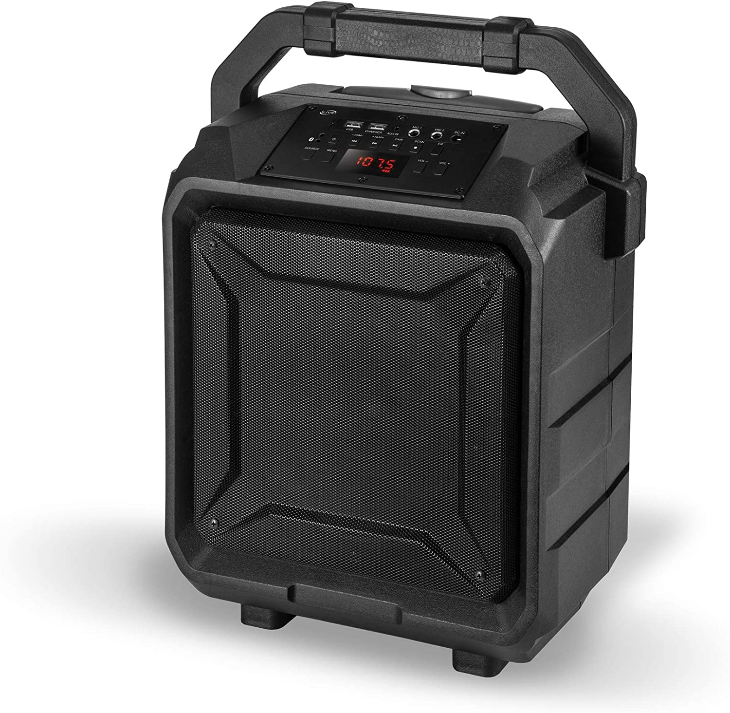 with Built-in Rechargeable Battery and Roller Wheels iLive ISB659B Wireless Tailgate Party Speaker Black