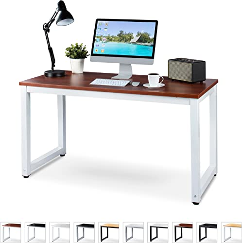 Office Computer Desk – 55 x 23 Teak Laminated Wooden Particleboard Table and White Powder Coated Steel Frame – Work or Home – Easy Assembly – Tools and Instructions Included – by Luxxetta