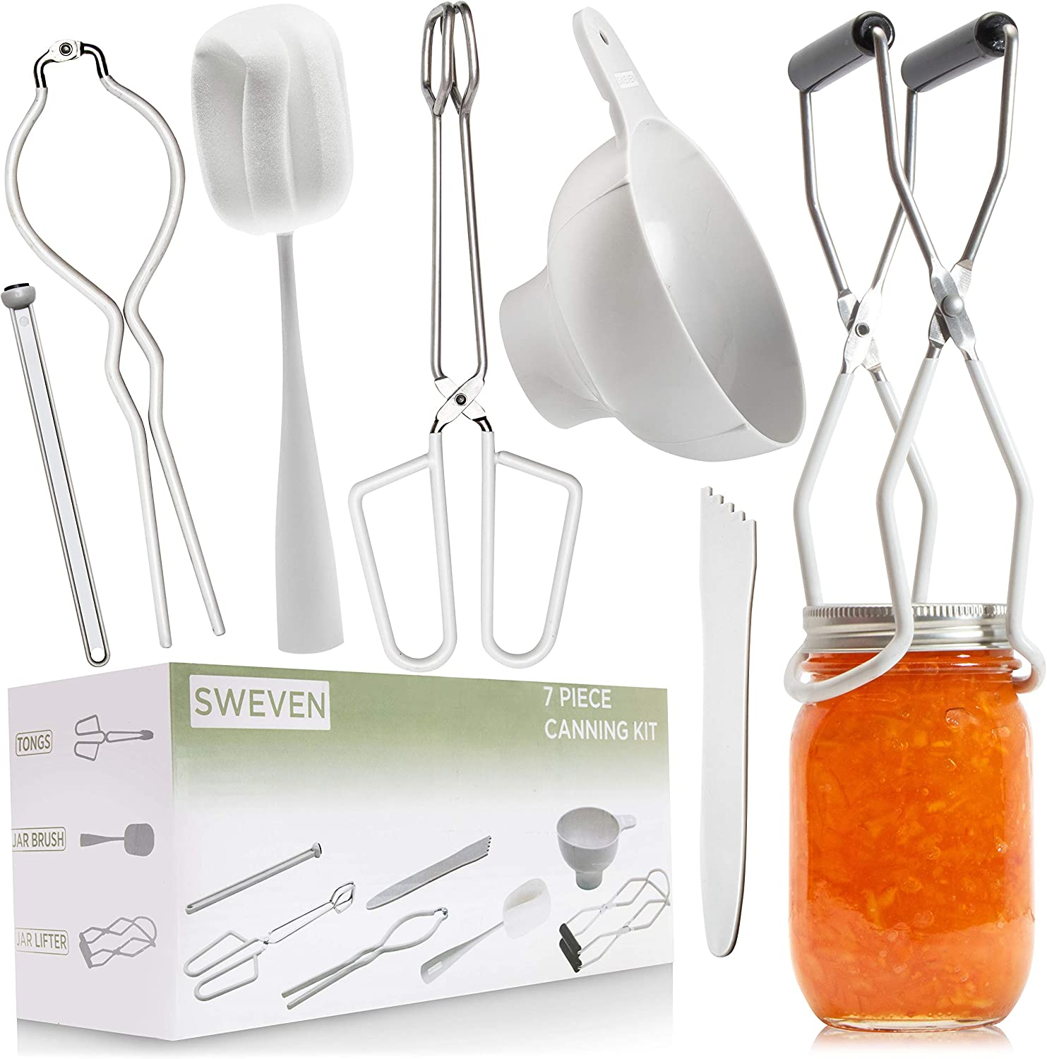Premium Canning Kit | Canning Supplies Starter Kit | 7 Piece Canning Set | Canning Tools Included: Canning Tongs, Bubble Popper, Jar Lifter, Canning Funnel, Magnetic Lid Lifter, Jar Brush, Jar Wrench