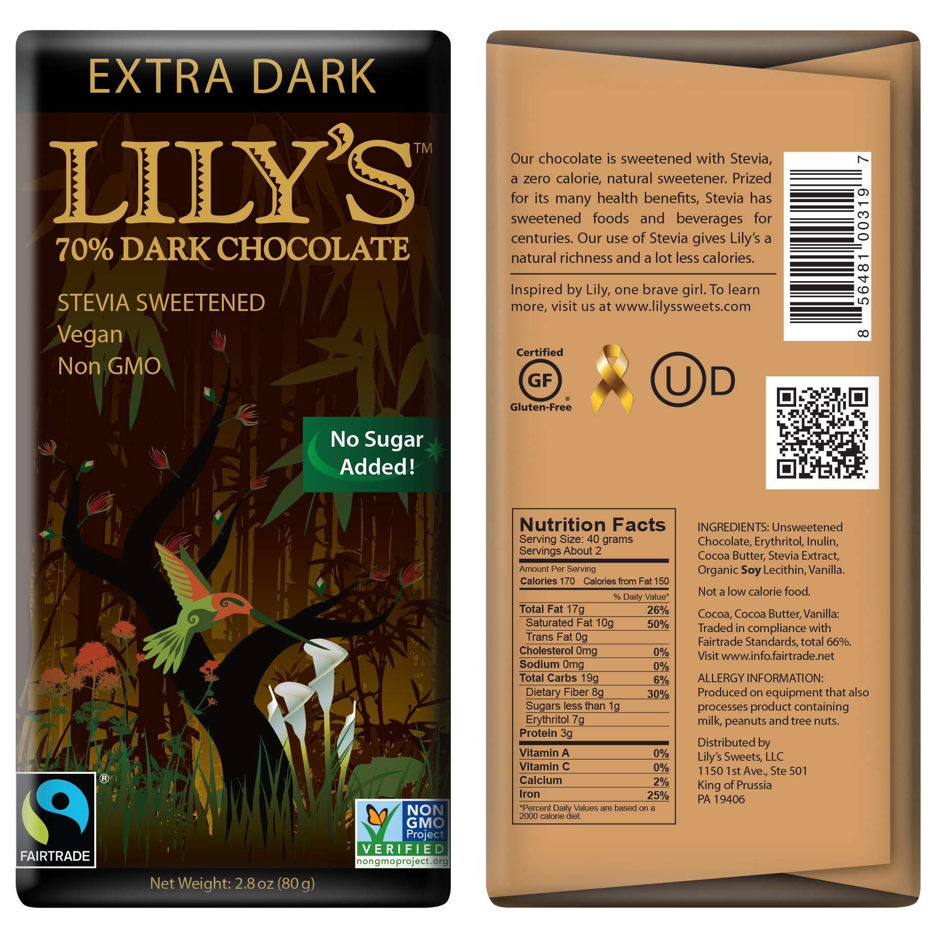 Extra Dark Chocolate Bar by Lily's Sweets | Stevia Sweetened, No Added Sugar, Low-Carb, Keto Friendly | 70% Cacao | Fair Trade, Gluten-Free & Non-GMO | 3 ounce, 4-Pack by Lily's (Image #2)