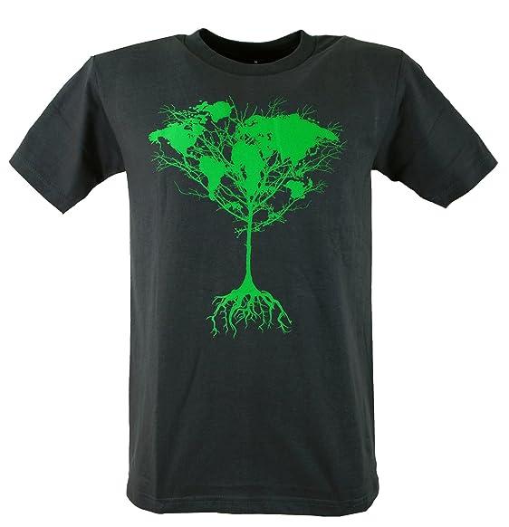 Guru-Shop Fun T-Shirt `Weltbaum` - Rot, Herren, Grau