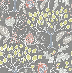 NuWallpaper NU3039 Groovy Garden Grey Peel & Stick Multicolor Wallpaper