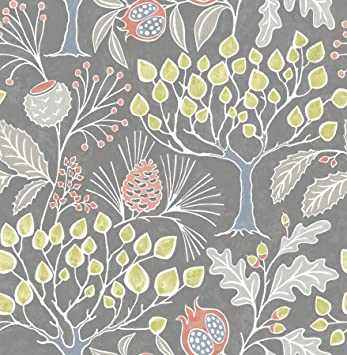 Nuwallpaper Nu3039 Groovy Garden Grey Peel Stick Multicolor Wallpaper Amazon Com
