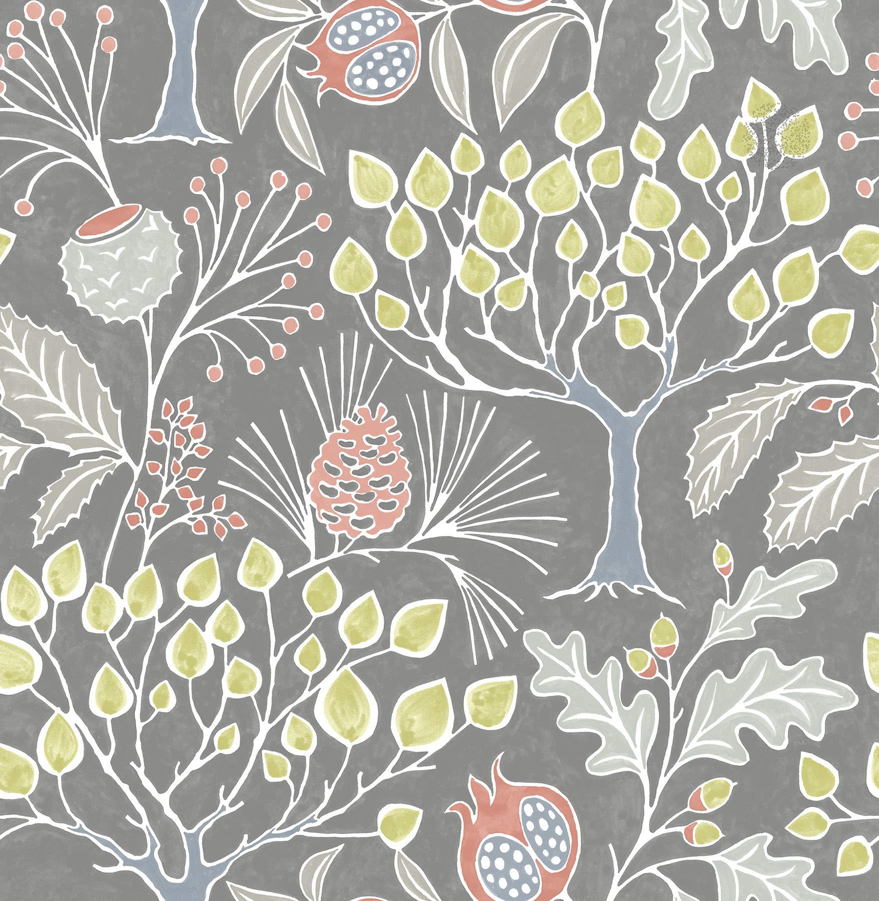 NuWallpaper NU3039 Groovy Garden Grey Peel & Stick Multicolor Wallpaper by NuWallpaper