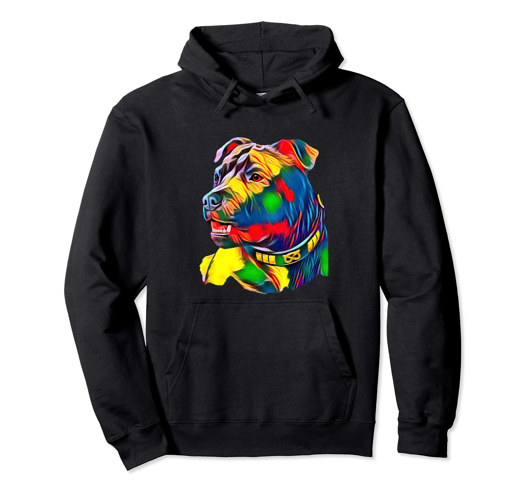 Watercolor Art Colorful American Staffordshire Bull Terrier Pullover Hoodie 1