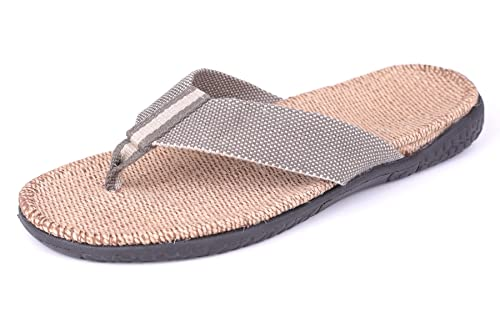 7684dff96 Flammi Men s Flip Flop Arch Support Sandals Linen Insole Thong Slippers  Indoor Outdoor (8.5-