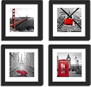 SmartWallStation 4Pcs 11x11 Real Glass Wood Frame Black, with 2X Mat Fit 8x8 4x4 inch Family Kid Photo, Desktop On Wall Office City Red US London Golden Gate Bridge (10 Set Pictures) A