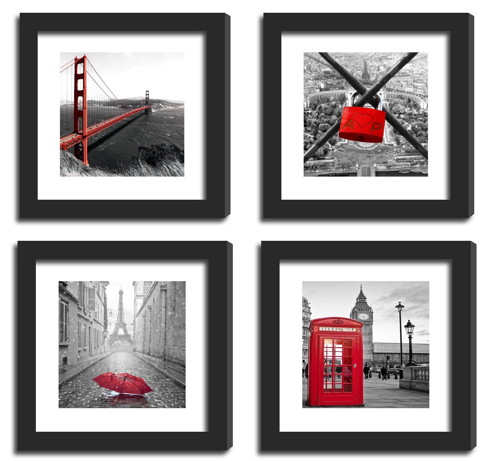 SmartWallStation 4Pcs 11x11 Real Glass Wood Frame Black, with 2X Mat Fit 8x8 4x4 inch Family Kid Photo, Desktop On Wall Office City Red US London Golden Gate Bridge (10 Set Pictures) A by SmartWallStation