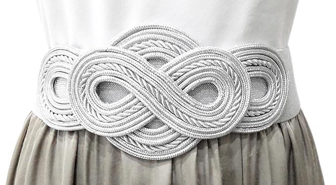 grandes variedades diseño moderno sitio de buena reputación Cinturones Anchos Mujer Elásticos de Fiesta para Vestidos Faldas Pantalones  Estilo Cordón de Seda, Color Plata