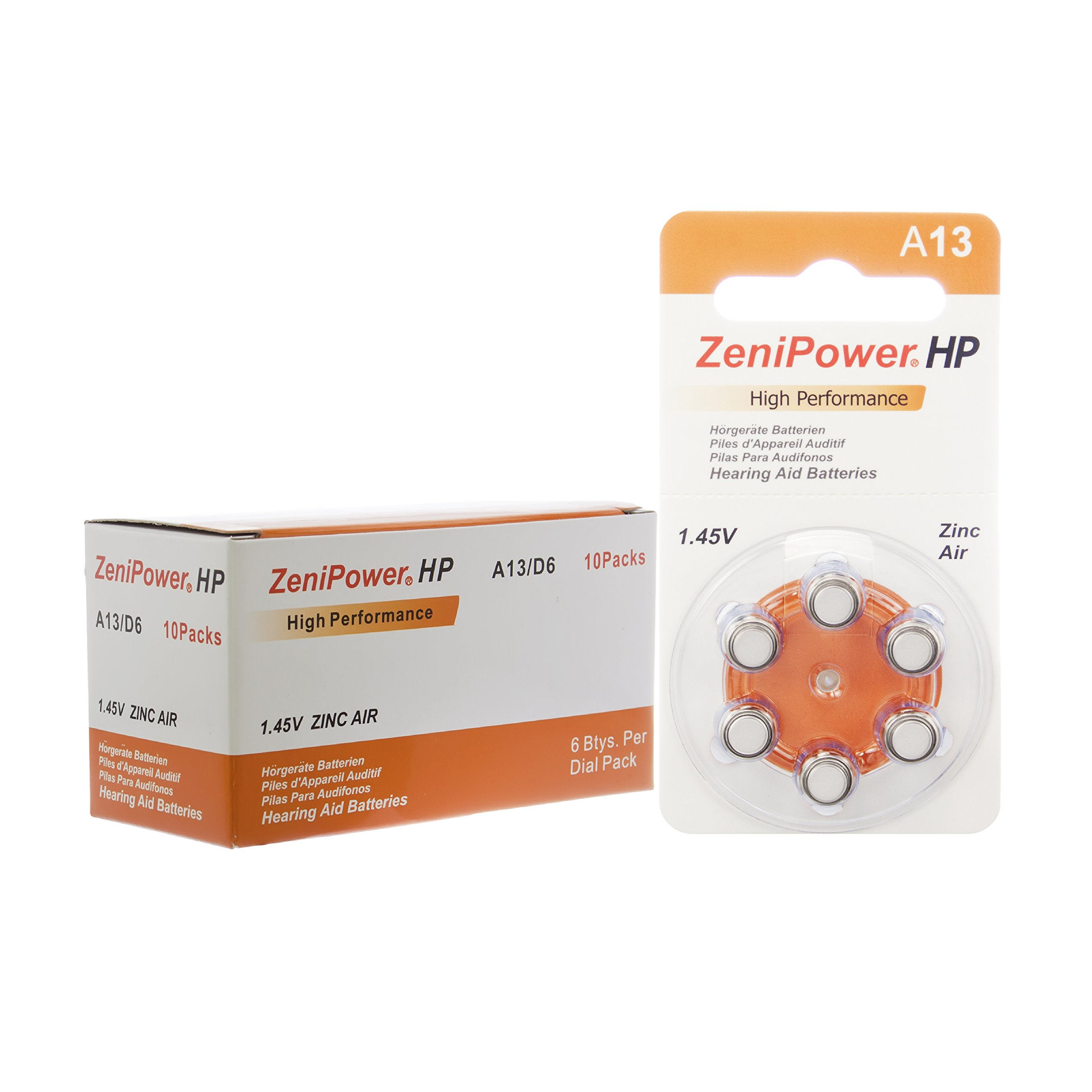 60 ZeniPower Hearing Aid Batteries Size: 13 + Battery Holder Keychain Kit