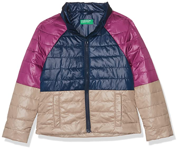 United Colors of Benetton Girl's Jacket, Multicoloured (Purple, Blue, Beige 904), 110 (Size: X-Small)