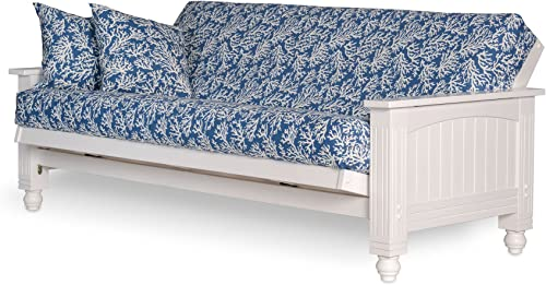 Cottage Futon Frame, Queen Size, Satin White Finish, Solid Wood Construction, Coastal Furniture