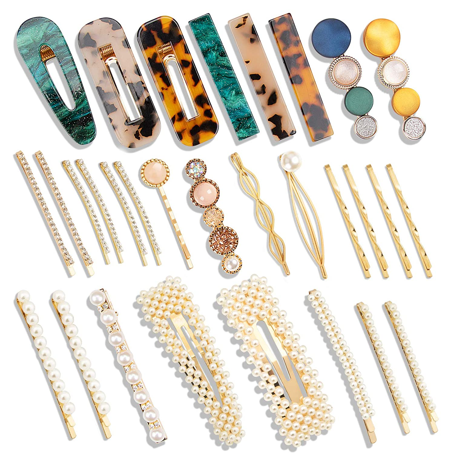 30 PCS Fashion Hair Clips Set,Pearls and Acrylic Resin Hair Clips,Handmade Hair Barrettes,Elegant Gold Hair Accessories, Gifts for Women and Party Wedding Gifts