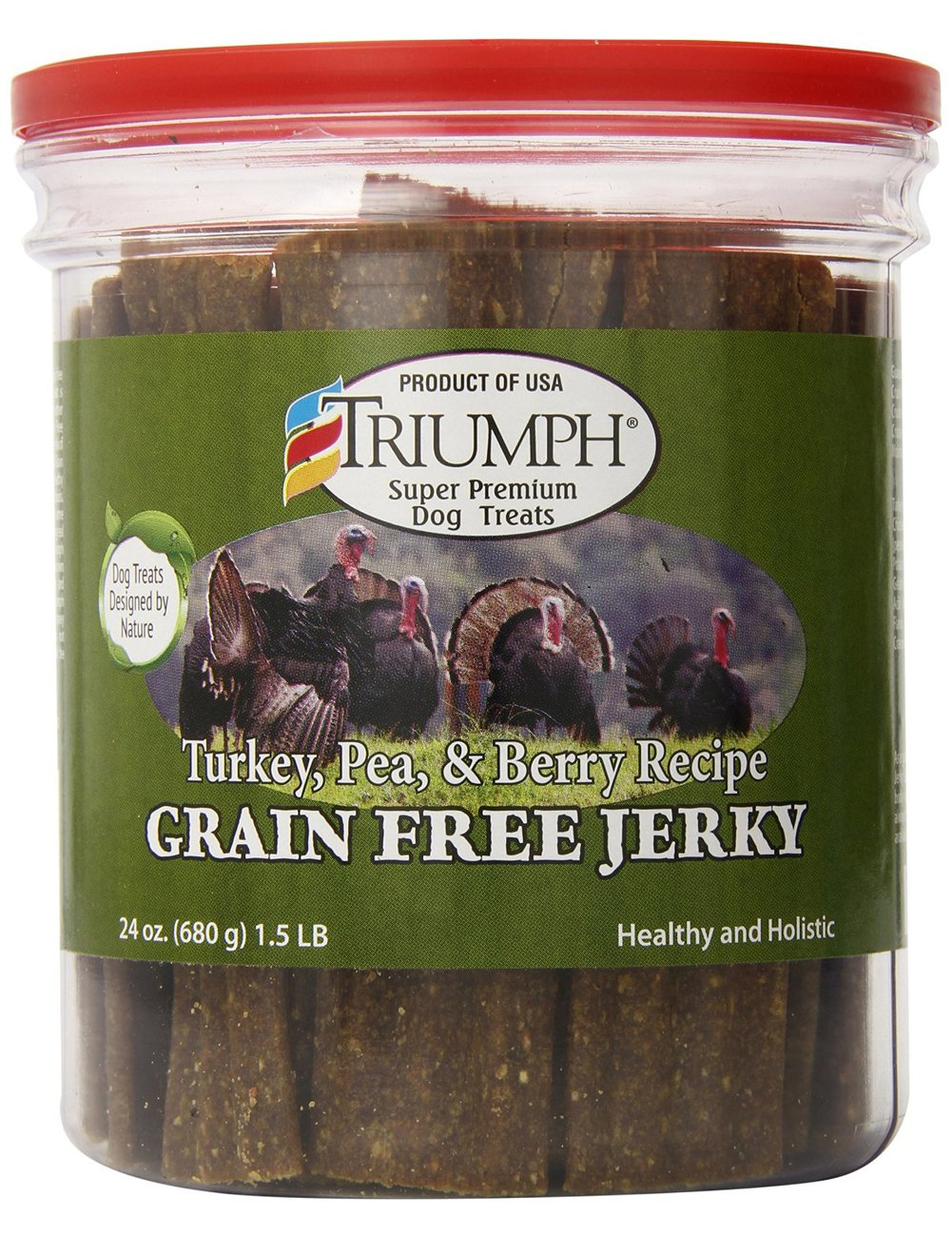 amazon com triumph dog turkey pea u0026 berry grain free jerky 24