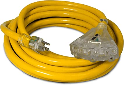 25 Foot Lighted Outdoor Extension Cord with 3 Electrical Power Outlets 10//3 SJ