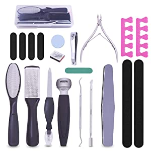 Professional Pedicure Kit Foot Files Set 20 In 1,Foot File Callus Remover Foot Care Kit Manicure Tools for Men Women Mother's Day Gift Foot Spa At-Home Salon