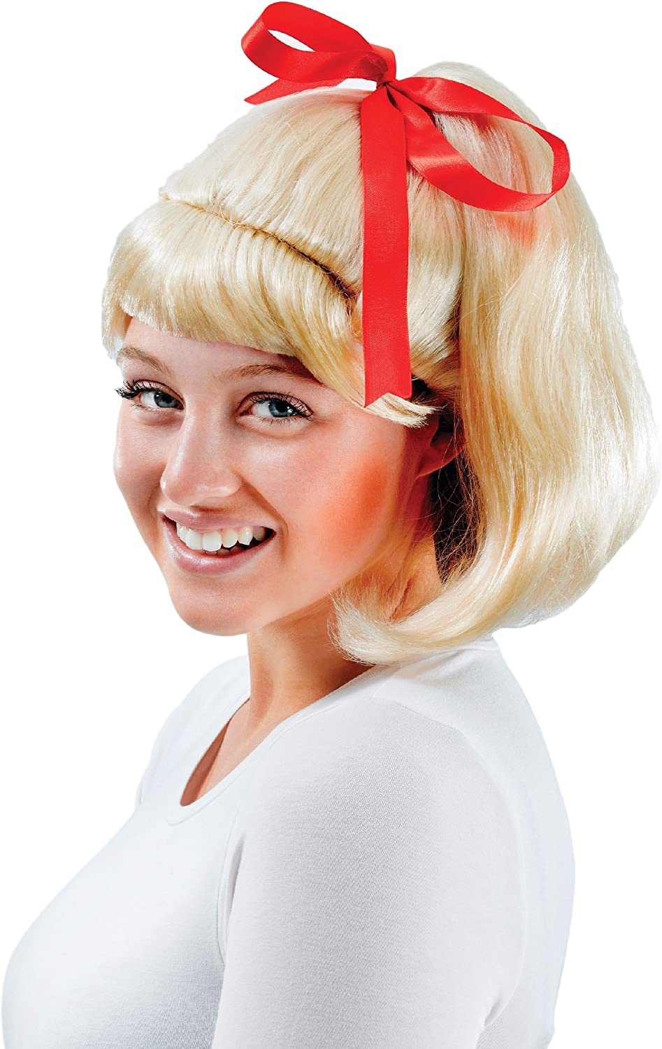 Ladies Blonde 1950s High School Girl Ponytail Fancy Dress Costume Outfit Wig