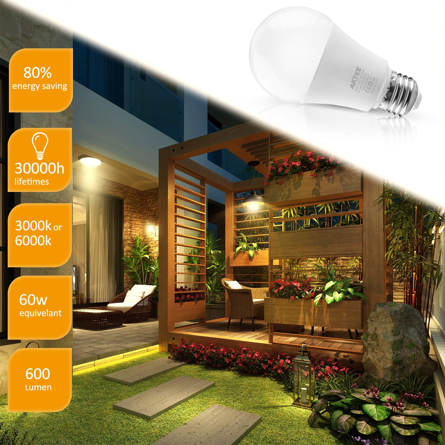 Smart Light Bulb Dusk to Dawn Sensor Led Light Bulbs Indoor/Outdoor E26 Base Socket Auto On/Off Lighting Lamp 9W (3000K, 2 Pack)