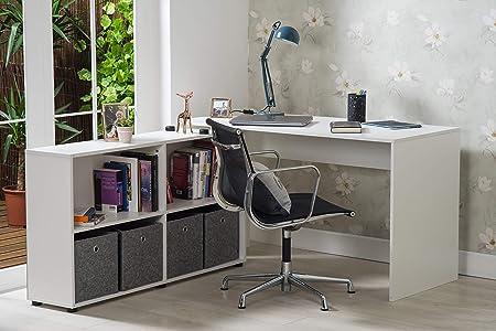 Furnituremaxi - Escritorio de Esquina para Ordenador con Estante ...