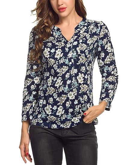 6ddeffcb Corgy Women Soft Retro Flower Blouse Cuffed Sleeve High Low Hem Tops,Navy  Blue,