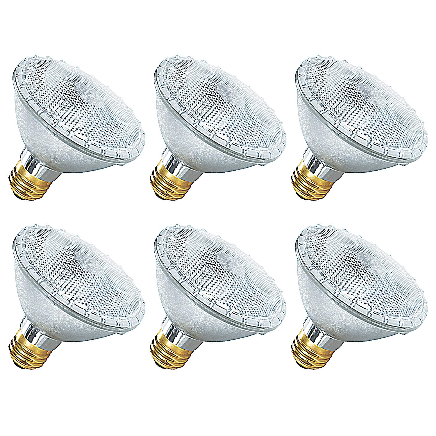 Luxrite LR20623 (6-Pack) PAR30 Eco Halogen Short Neck Light Bulb, 60 Watt (75w replacement) Dimmable, 40° Flood Beam Spread, 2900K, 1080 Lumens E26 Base, For Indoor/outdoor use.