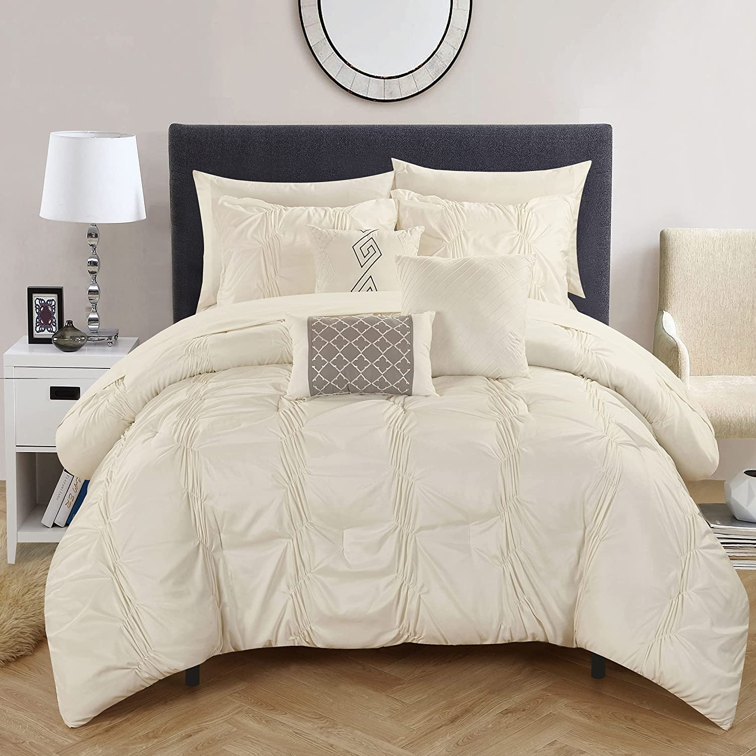 Chic Home CS2556 10 Piece Tori Pinch, Ruffled and Pleated Complete King Bed in a Bag Comforter Beige Sheets Set and Deocrative Pillows Included