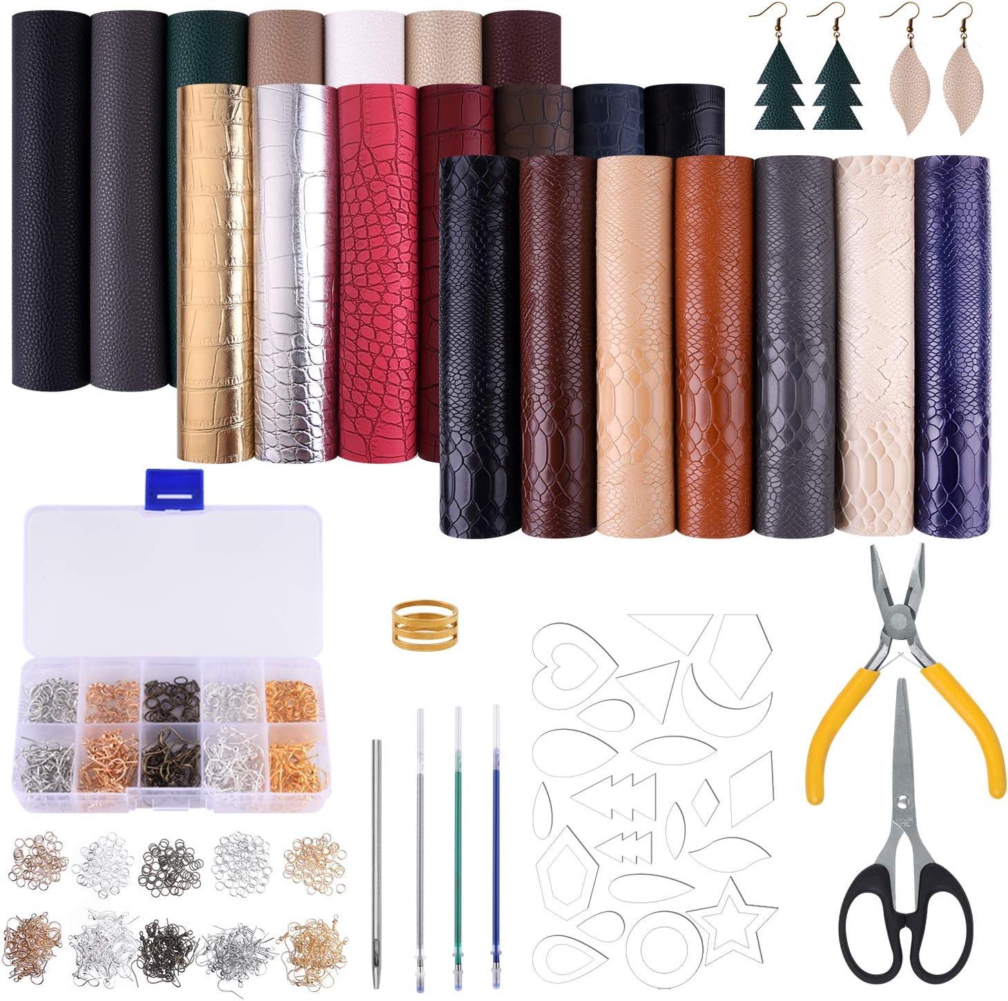 MIAHART 21 hojas de piel sintética con moldes de corte de pendiente y aretes de cuero para hacer aros y manualidades de cuero (6 x 8,3 pulgadas, 3 estilos)