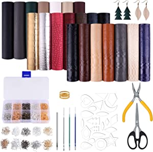 MIAHART 21 Pack Faux Leather Sheets with Earring Cut Molds and Leather Earrings Making Tools Kit for Making Leather Earrings Bows and Crafts(6 X 8.3 inch,3 Style)