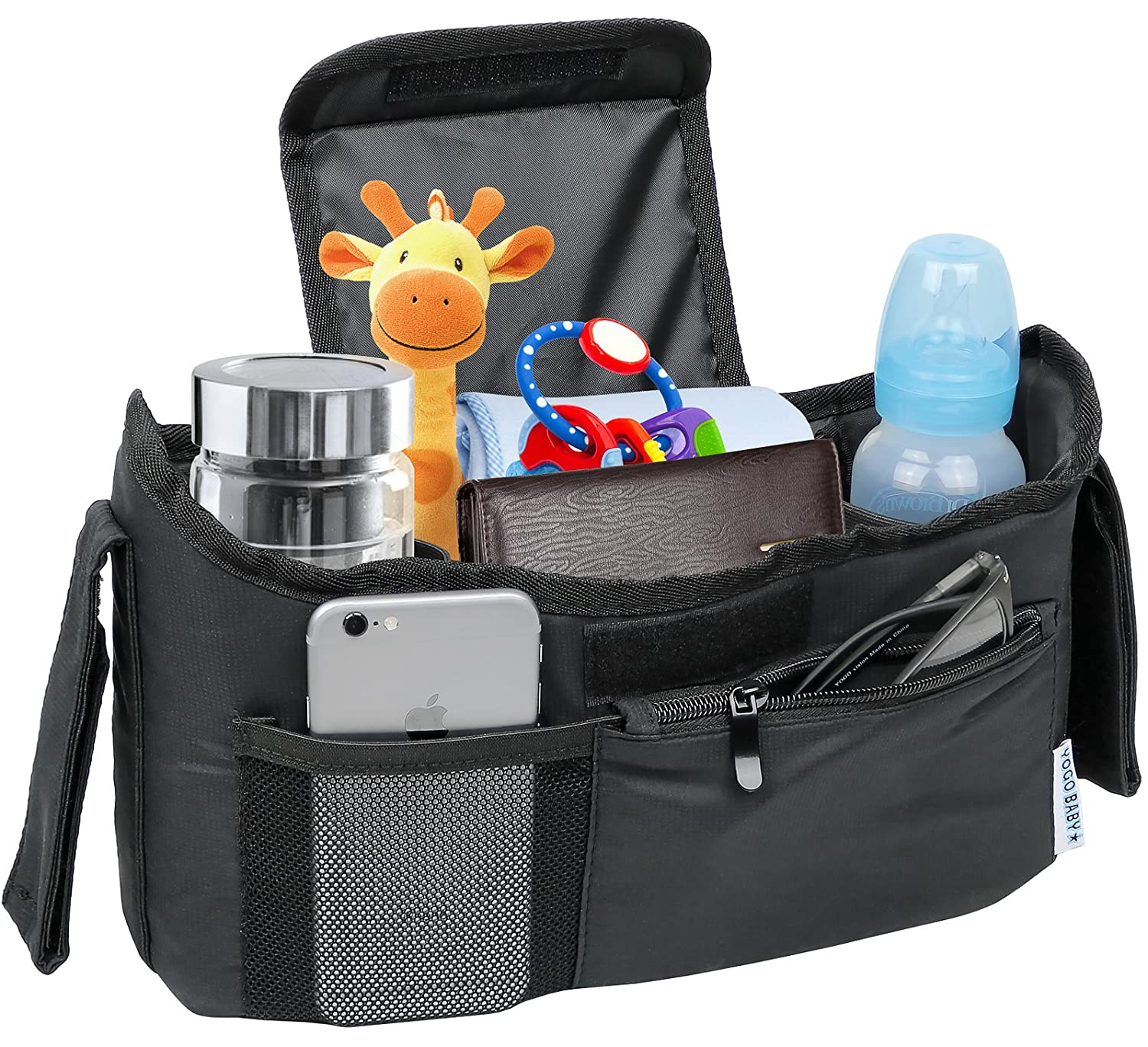 Deluxe Stroller Organizer Universal Fit for all Strollers Multiple Pockets Zipper and Phone Pocket Deep Insulated Cup Holders Yogo Baby