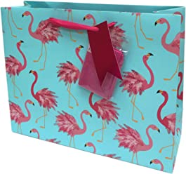 Festive Pink Flamingos Birthday Celebration Party Gift Bag & Pink Tissue Paper