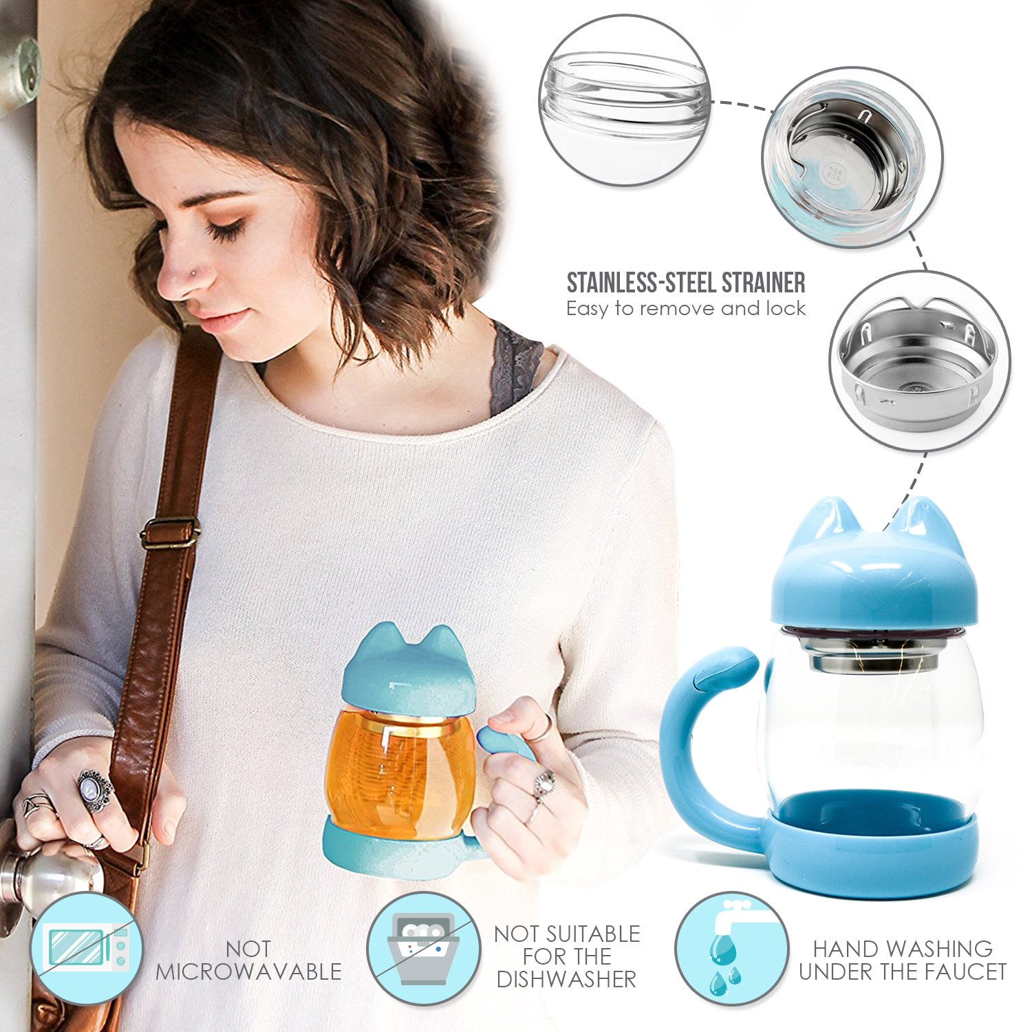 Cute Cat Tea Mug Cup – With Strainer/Infuser - Cat Lover Gifts for Cat Lovers and Women - Cat Themed Stuff Items Presents Things Gift - Portable Blue Travel Glass Mugs and Cups - Kitty Mug Lid 14oz by Adeson (Image #6)