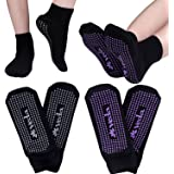 Veda Yoga & Pilates Socks for Women (2 Pairs) Non-Slip, Non-Skid Silicone Traction Grip