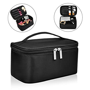 1e9848a00449 Qookiee Travel Cosmetic Bags Toiletry Bags, Multifunction Makeup Bag Train  Case Handle Organizer...