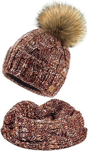 4sold M/ütze /& Schal Schlauchscha Damen Gerippt Winter Beanie mit Fleece Strickm/ütze Mohair Wolle Wurm mit Faux Fell-Bommel Bommel Pom Pom Strick Gef/üttert