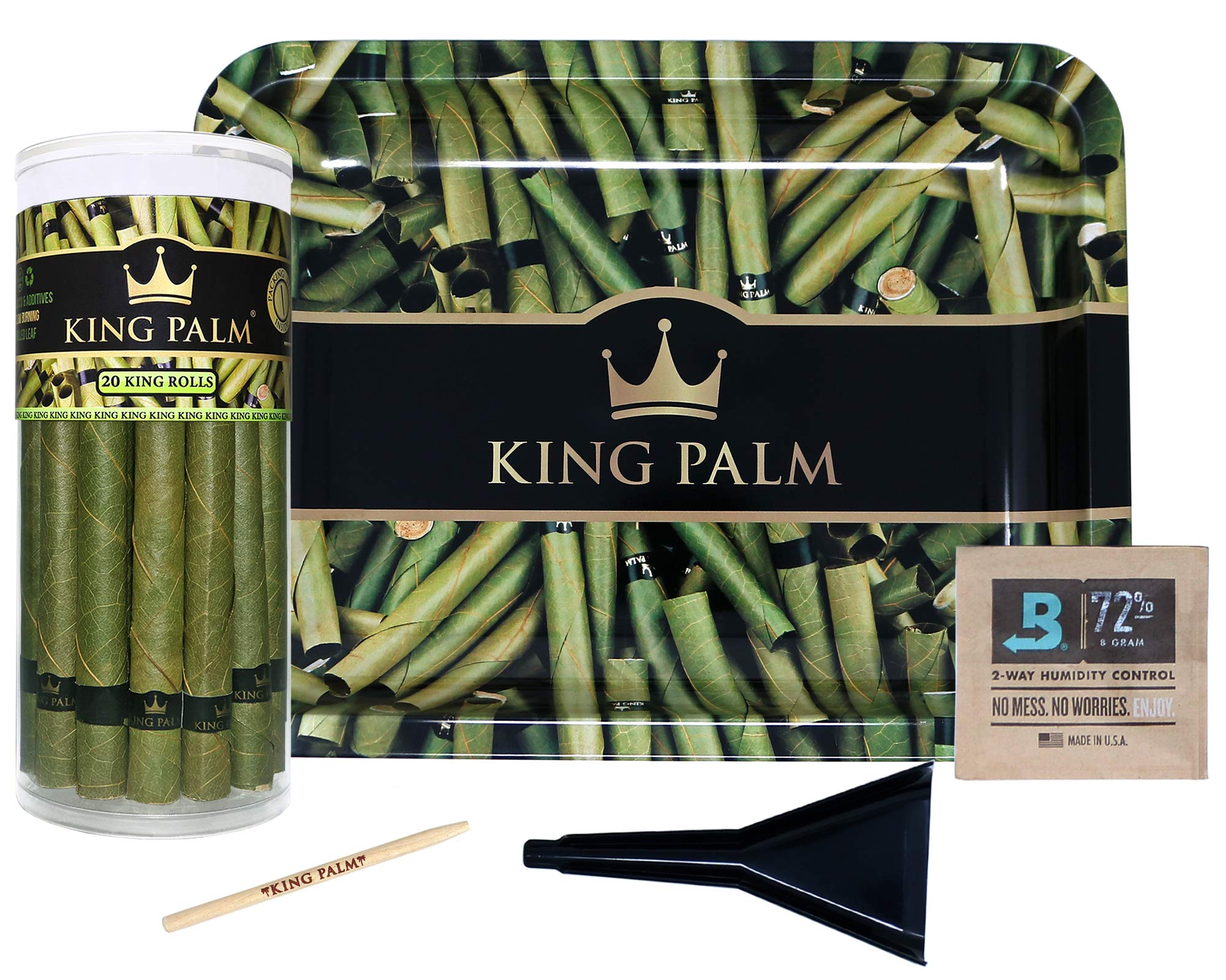 King Palm Bundle | King Size Natural Slow Burning Pre-Rolled Palm Leafs (20 Pack) | Green Rolling Tray | Cone Loader | Humidifying Pack | Packing Stick |