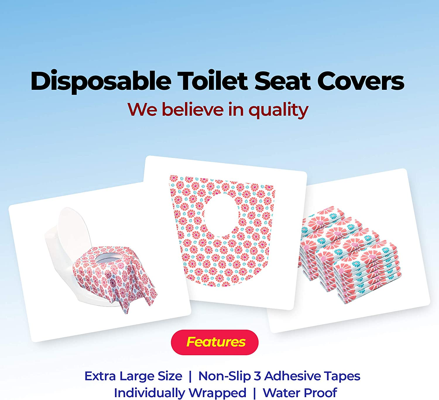 Airplane Essentials and Public Bathroom Disposable Toilet Seat Covers for Kids and Adults Portable Covers for Toddler Potty Training 24 Pack-Extra Large Pack of 24 Road Trip