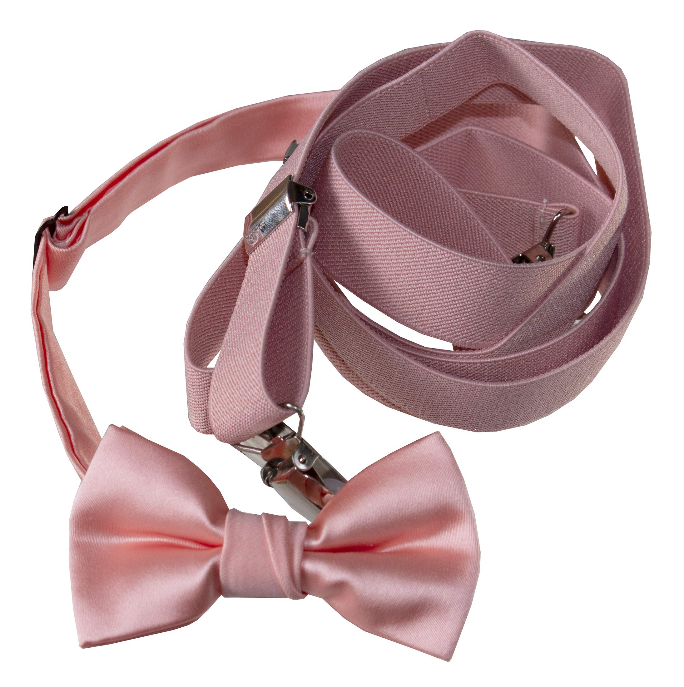 Tuxgear Mens Matching Adjustable Suspender and Bow Tie, Peach, Adults 50'' (Peach, Adults 50'')