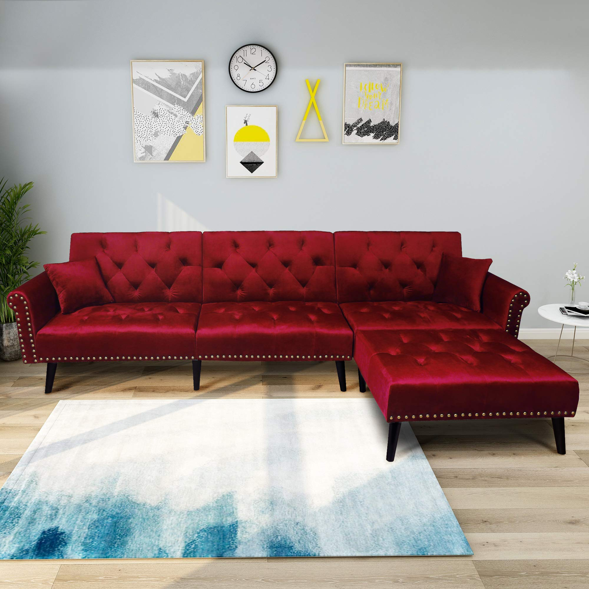 BEIZ TRADING Sectional Modern Contemporary Sofa Corner Sofa Living Room Couch Sofa with Reversible Chaise Lounge Soft Dutch Velvet for Top Comfort Home Furniture (Wine Red, 115'' 59.37'' 32.3'') by BEIZ TRADING