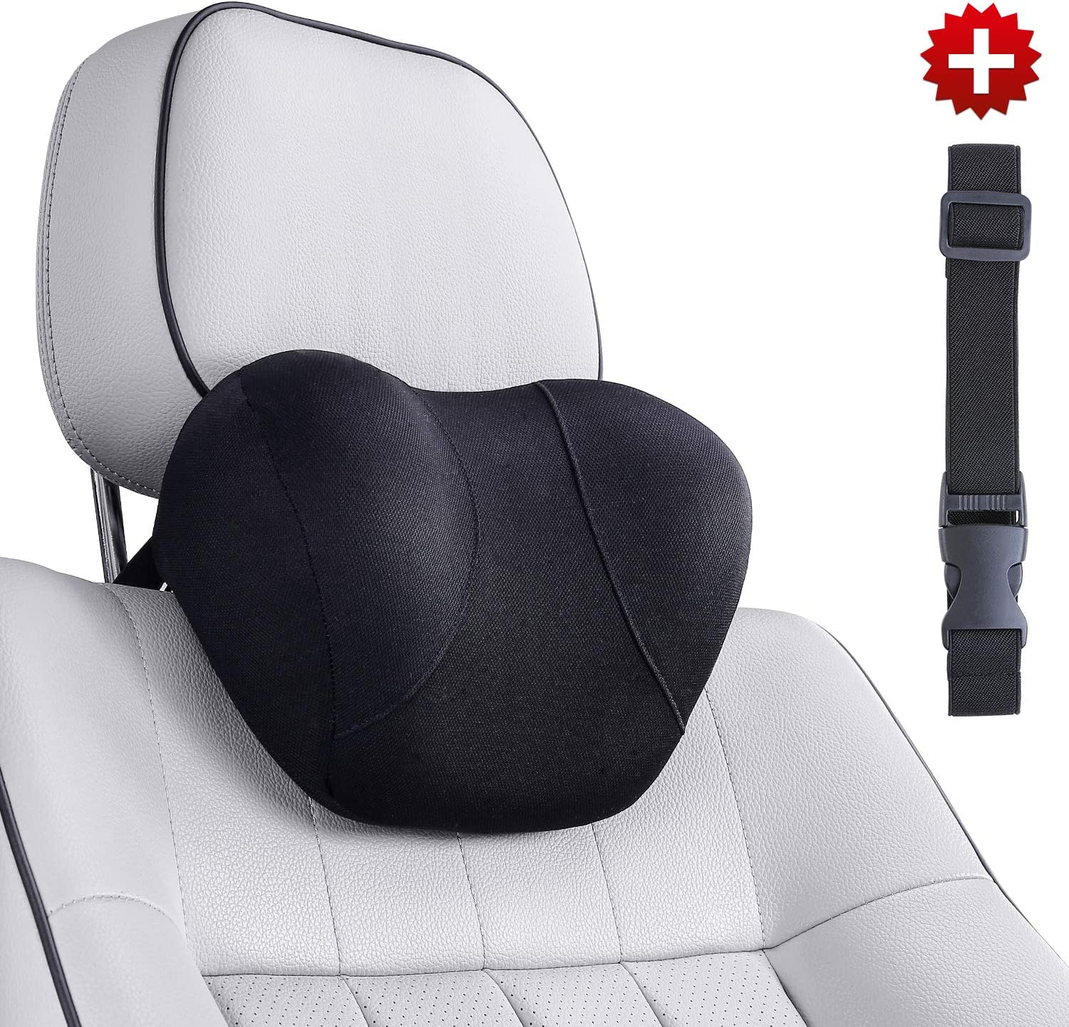 Conthou Car Neck Pillow Memory Foam for Cervical Pain Relief, Ergonomic Neck Support with Extender Strap for Car Seat, Office Chair, Recliner and Gaming Chair