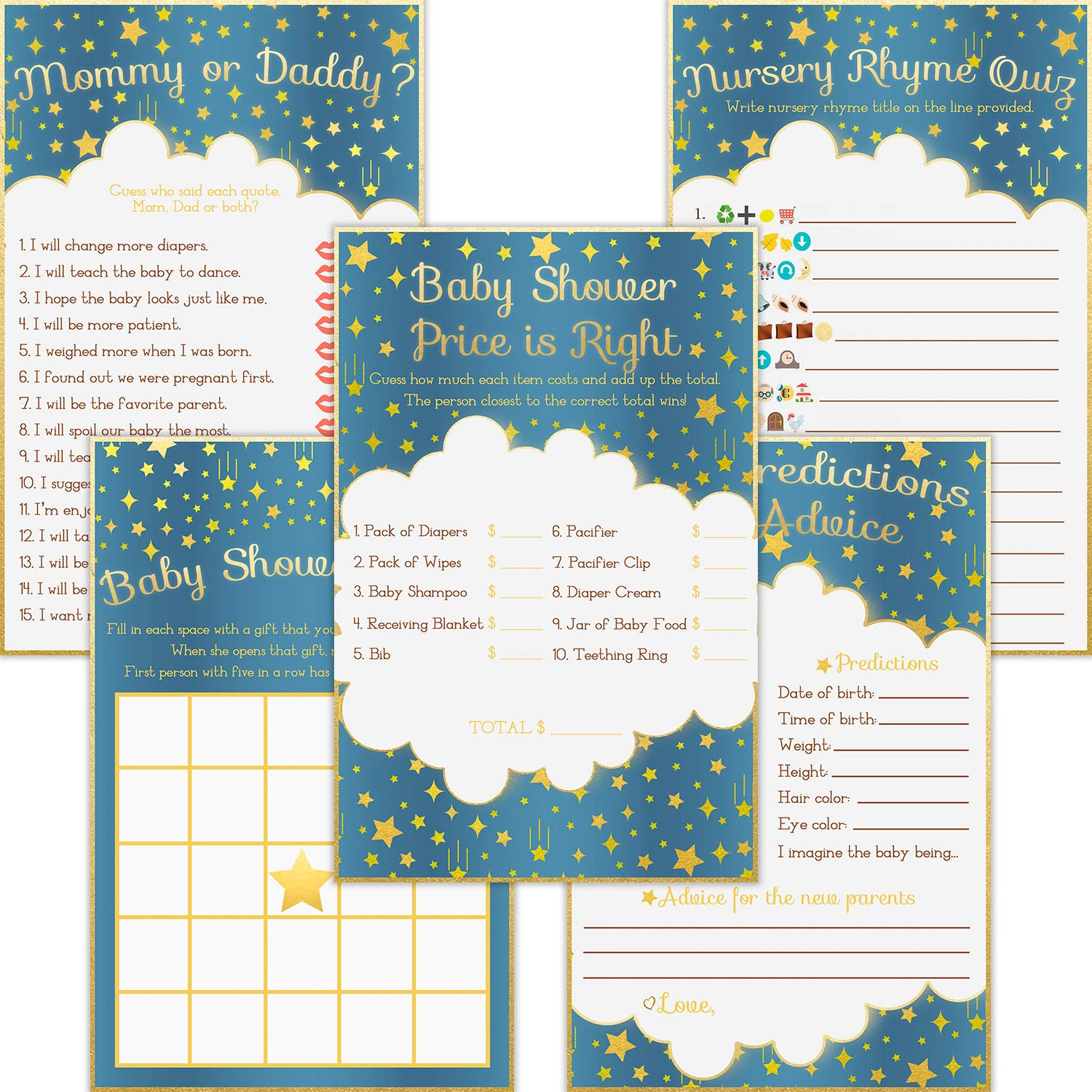 Baby Shower Games - Pack of 5 Activities (50 Each, 250 Total) - Bingo, Mommy or Daddy, Emoji, Predictions and Advice, and Price is Right