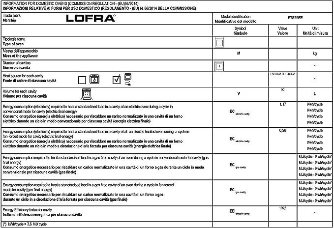 Lofra Lofra fys 99 EE Exclusivo empotrable del Horno 90 cm Autark/Italie nichos Luxus Fabricante Lofra/90 Litros/9 funciones con aire caliente telescópicas Touch Control temporizador/Instalación del Horno con carcasa enfriamiento/eléctrico del Horno